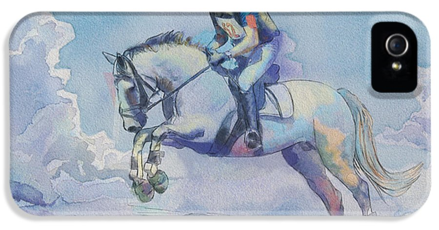 Horse Sport IPhone 5 Case featuring the painting Polo Art by Catf
