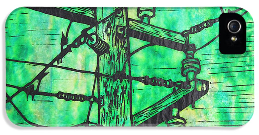 Power IPhone 5 Case featuring the drawing Power Lines by William Cauthern