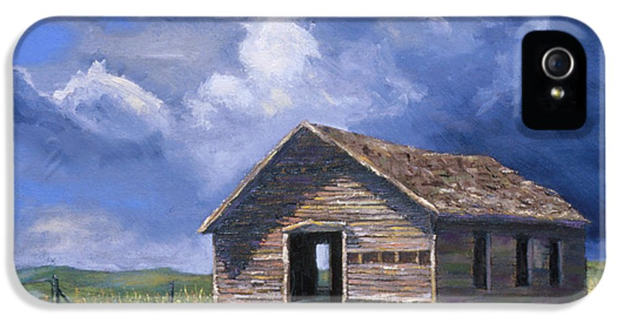 Nebraska IPhone 5 Case featuring the painting Prairie Church by Jerry McElroy