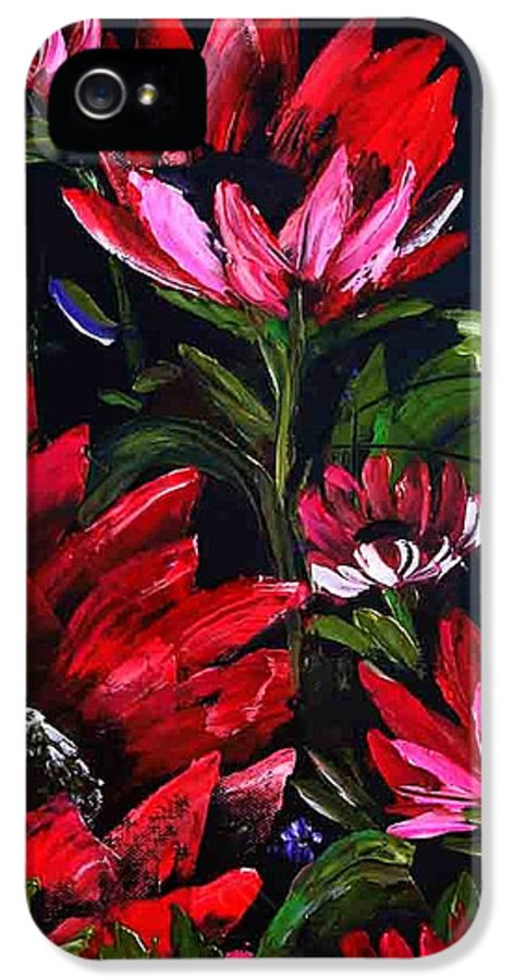 Wet On Wet Oil Painting ;happy Trees Print;bob Ross ;original Oil Painting Print;snow Print;nature Landscape Print;mountain Print;village Print;snow Print;sky Print;canvas Print;acrylic Print;greeting Card Print;framed Print;blue;white;brown;clay; Mud.....  IPhone 5 Case featuring the painting Red Flowers by Shirwan Ahmed