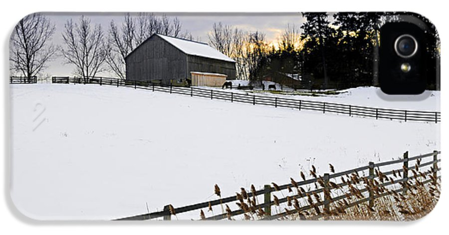 Farm IPhone 5 Case featuring the photograph Rural Winter Landscape by Elena Elisseeva