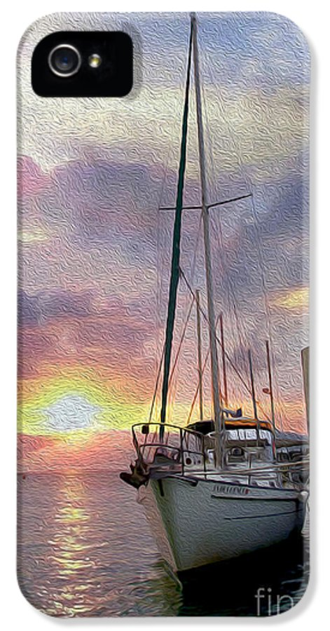 Sailboat IPhone 5 Case featuring the mixed media Sailboat by Jon Neidert