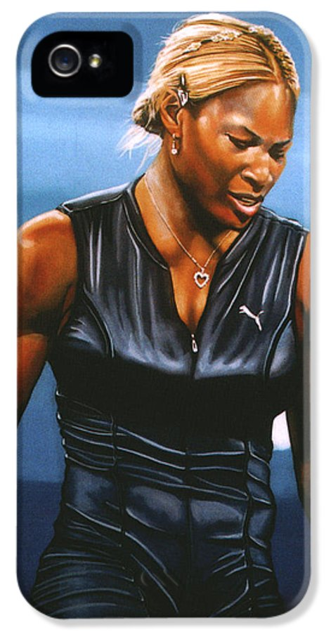 Serena Williams IPhone 5 Case featuring the painting Serena Williams by Paul Meijering