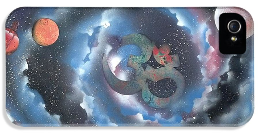 Spiral Galaxy Om IPhone 5 Case featuring the painting Spiral Galaxy Om by Thomas Roteman