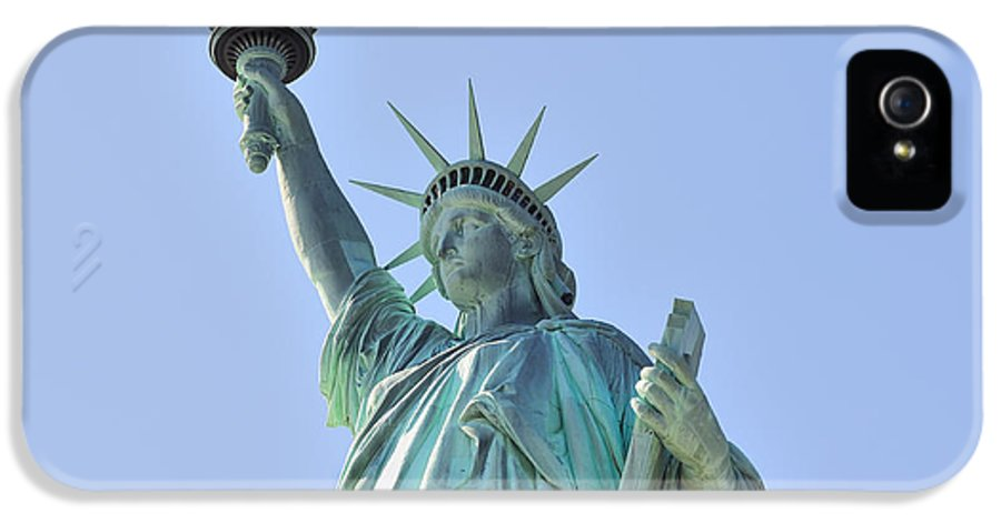 Statue Of Liberty IPhone 5 Case featuring the photograph Statue Of Liberty Closeup In New York City Manhattan by Songquan Deng