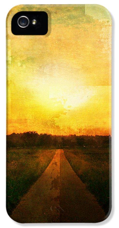 Brett IPhone 5 Case featuring the digital art Sunset Road by Brett Pfister