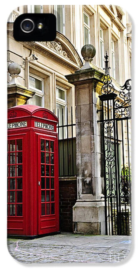 London IPhone 5 Case featuring the photograph Telephone Box In London by Elena Elisseeva