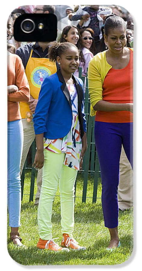 Easter Egg Roll South Lawn Easter Obama Barack Obama Michelle Obama Sasha Obama Malia Obama First Lady Fasion 2012 South Lawn White House Full Length IPhone 5 Case featuring the photograph The First Lady And Daughters by JP Tripp