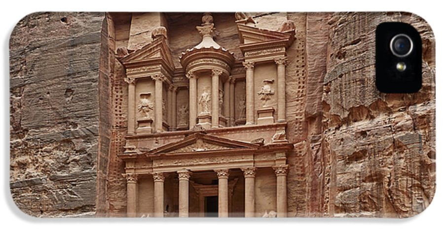 Jordan IPhone 5 Case featuring the photograph the treasury Nabataean ancient town Petra by Juergen Ritterbach