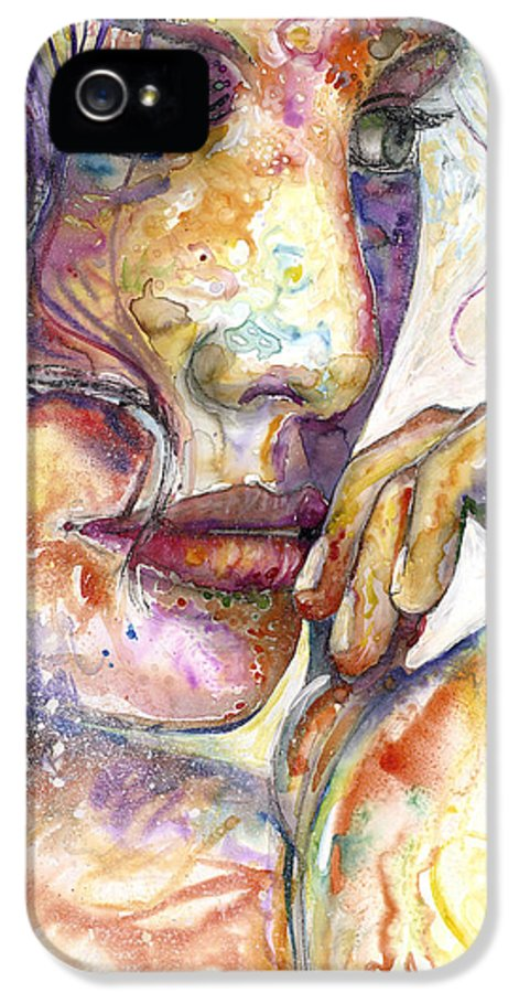 Beautiful Woman IPhone 5 Case featuring the painting Thoughts by Frank Robert Dixon