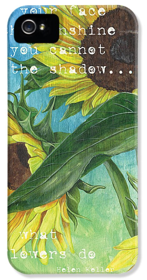 Flowers IPhone 5 Case featuring the painting Vince's Sunflowers 1 by Debbie DeWitt