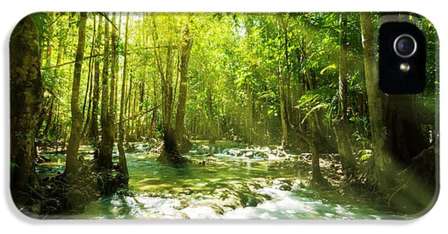 Adventure IPhone 5 Case featuring the photograph Waterfall In Rainforest by Atiketta Sangasaeng
