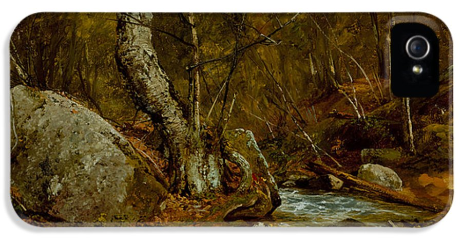 Land IPhone 5 Case featuring the painting Woodland Interior by John Frederick Kensett