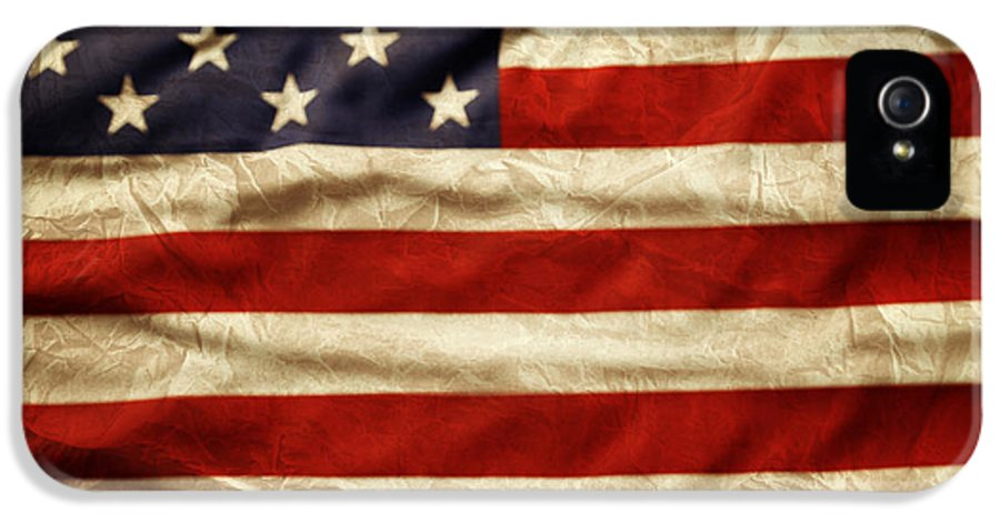 Wrinkled IPhone 5 Case featuring the photograph American Flag by Les Cunliffe