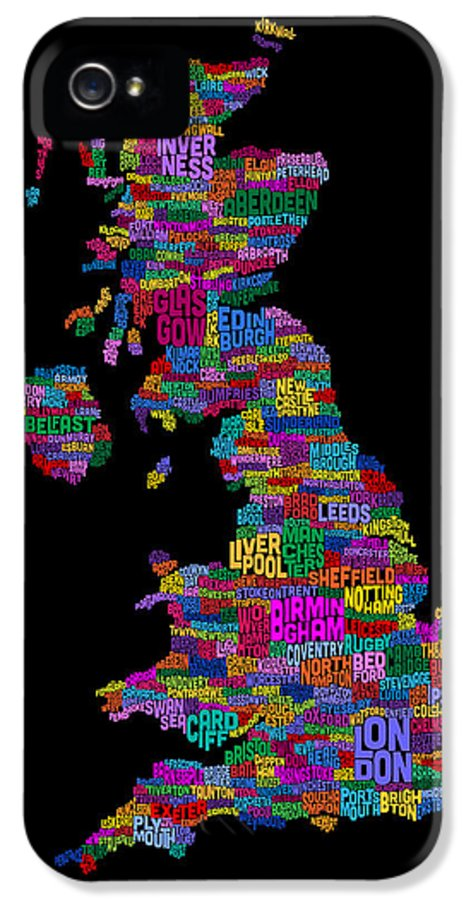 United Kingdom IPhone 5 Case featuring the digital art Great Britain Uk City Text Map by Michael Tompsett