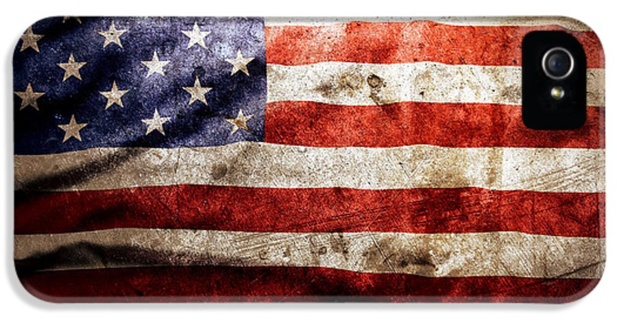 Old IPhone 5 Case featuring the photograph American Flag by Les Cunliffe