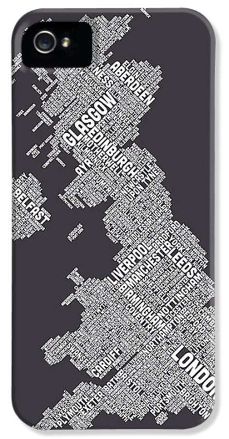 United Kingdom IPhone 5 / 5s Case featuring the digital art Great Britain Uk City Text Map by Michael Tompsett