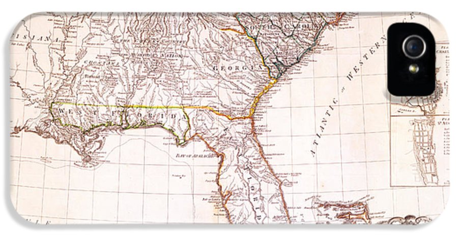 Antique Map Reproductions IPhone 5 Case featuring the drawing 1776 - The Seat Of War In The Southern British Colonies by Kayleigh Green