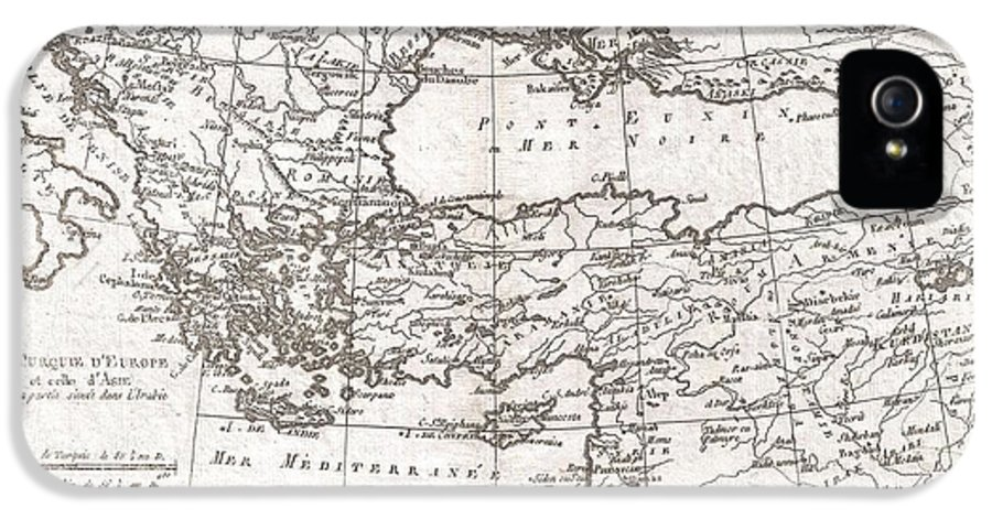 A Fine Example Of Rigobert Bonne And Guilleme Raynal's 1780 Map Of Turkey In Europe And Asia. This Map Of The Ottoman Empire Includes The Areas Stretching From Italy IPhone 5 Case featuring the photograph 1780 Raynal And Bonne Map Of Turkey In Europe And Asia by Paul Fearn