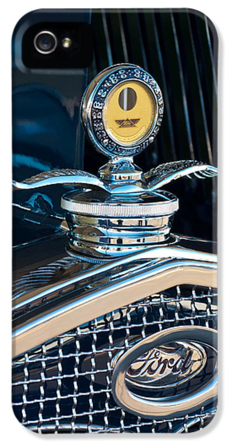 1931 Model A Ford Deluxe Roadster IPhone 5 Case featuring the photograph 1931 Model A Ford Deluxe Roadster Hood Ornament by Jill Reger