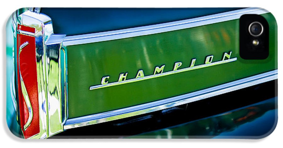 1941 Studebaker Champion Coupe IPhone 5 Case featuring the photograph 1941 Sudebaker Champion Coupe Emblem by Jill Reger