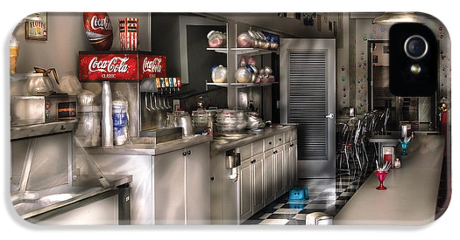 Cola IPhone 5 Case featuring the photograph 1950's - The Soda Fountain by Mike Savad
