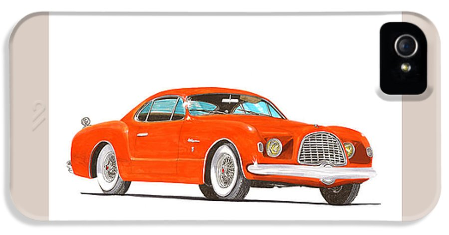 Car Art IPhone 5 / 5s Case featuring the painting 1952 Chrysler Delegance Concept by Jack Pumphrey