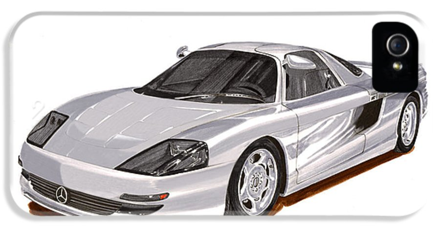 Car Art IPhone 5 Case featuring the painting 1991 Mercedes Benz C 112 Concept by Jack Pumphrey