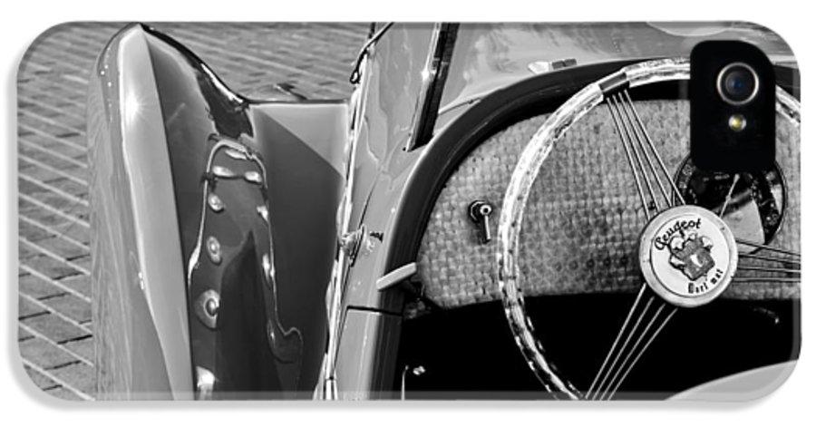 1937 Peugeot 402 Darl'mat Legere Speacial Sport Roadster Recreation Steering Wheel Emblem IPhone 5 Case featuring the photograph 1937 Peugeot 402 Darl'mat Legere Speacial Sport Roadster Recreation Steering Wheel Emblem by Jill Reger