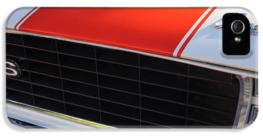 1969 Chevrolet Camaro Rs-ss Indy Pace Car Replica Grille - Hood Emblems IPhone 5 Case featuring the photograph 96 Inch Panoramic -1969 Chevrolet Camaro Rs-ss Indy Pace Car Replica Grille - Hood Emblems by Jill Reger
