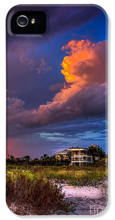 Rain Clouds IPhone 5 Case featuring the photograph Beach Front Rain by Marvin Spates