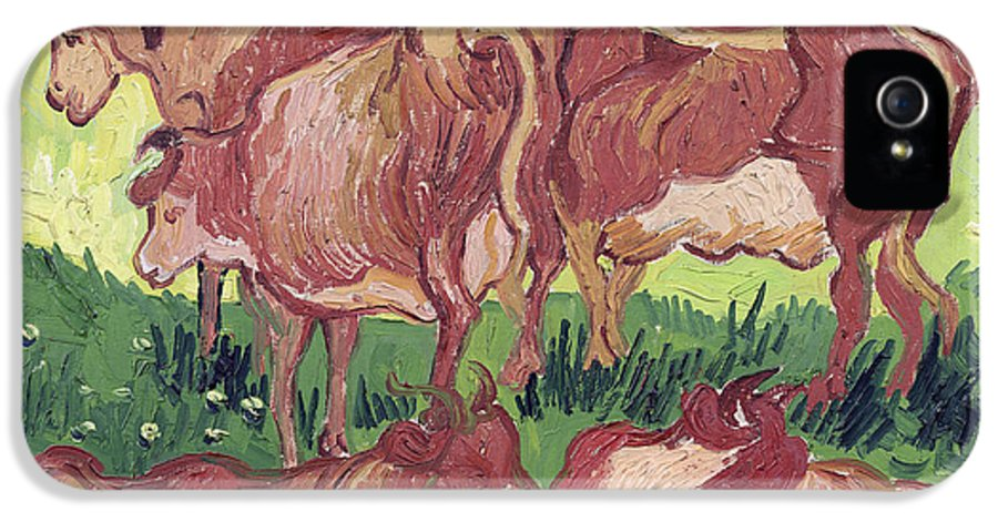 Vincent Van Gogh IPhone 5 Case featuring the painting Cows by Vincent Van Gogh