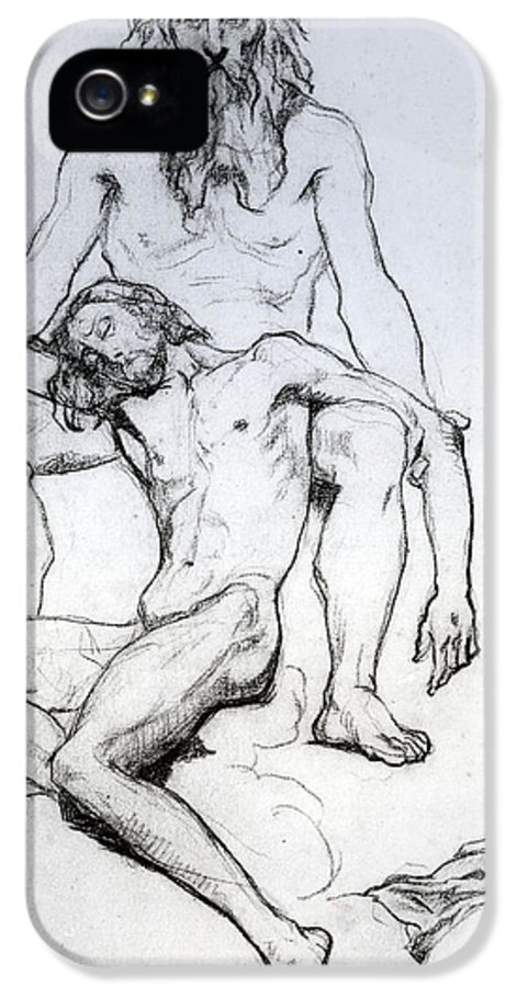 Drawing IPhone 5 Case featuring the drawing God The Father And God The Son by Henri Lehmann