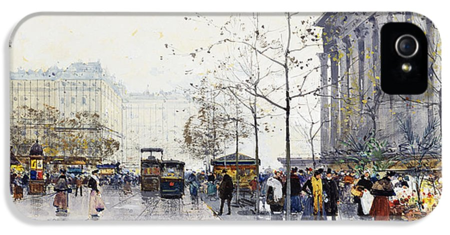 19th Century IPhone 5 / 5s Case featuring the painting La Madeleine Paris by Eugene Galien-Laloue