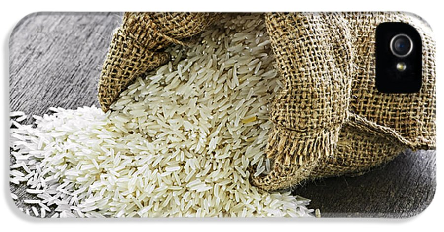 Rice IPhone 5 Case featuring the photograph Long Grain Rice In Burlap Sack by Elena Elisseeva