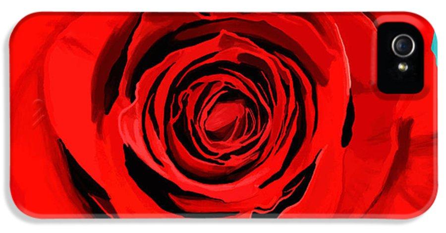 Beautiful IPhone 5 / 5s Case featuring the painting Painting Of Single Rose by Setsiri Silapasuwanchai