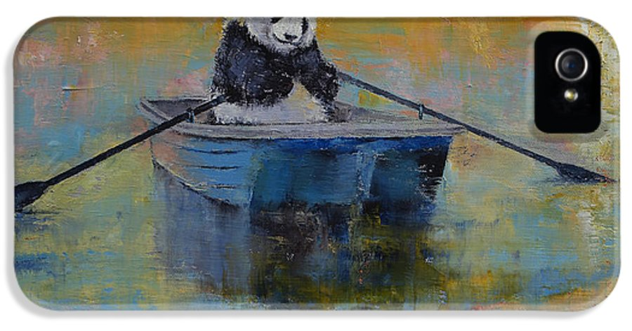 Panda IPhone 5 Case featuring the painting Panda Reflections by Michael Creese