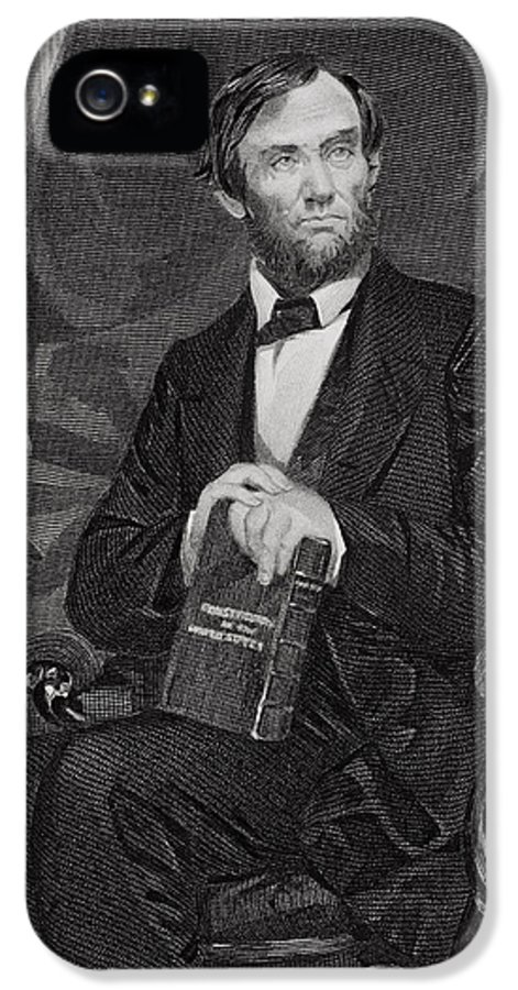 Male IPhone 5 Case featuring the painting Portrait Of Abraham Lincoln by Alonzo Chappel