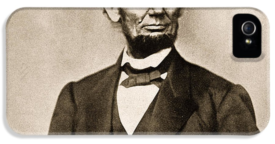Black And White Photograph IPhone 5 Case featuring the photograph Portrait Of Abraham Lincoln by Mathew Brady