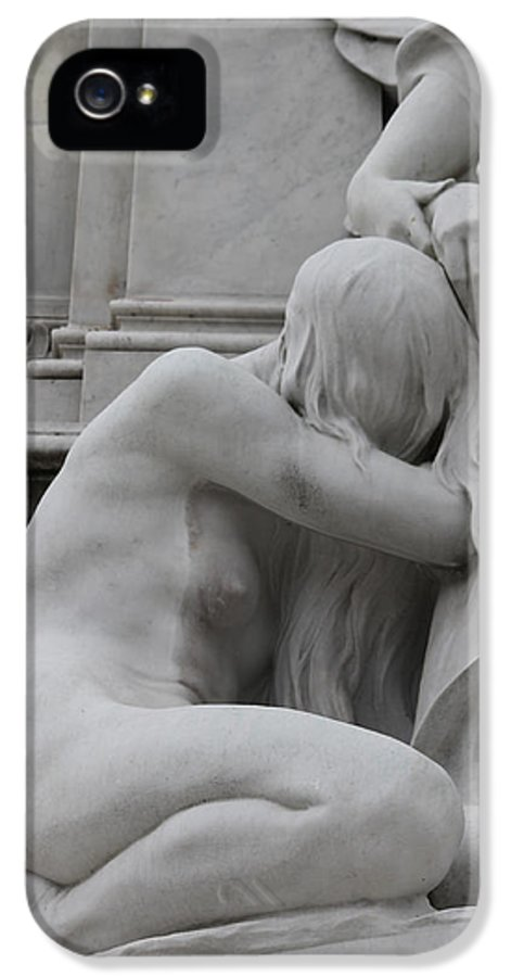 Sad Sadness Girl Female Woman Angel Statue Portrait Expressionism Photograph Memorial War London Buckingham Palace IPhone 5 Case featuring the photograph Sadness by Steve K