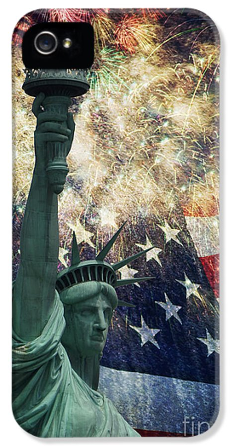 Statue Of Liberty IPhone 5 Case featuring the photograph Statue Of Liberty And Fireworks by Michael Shake