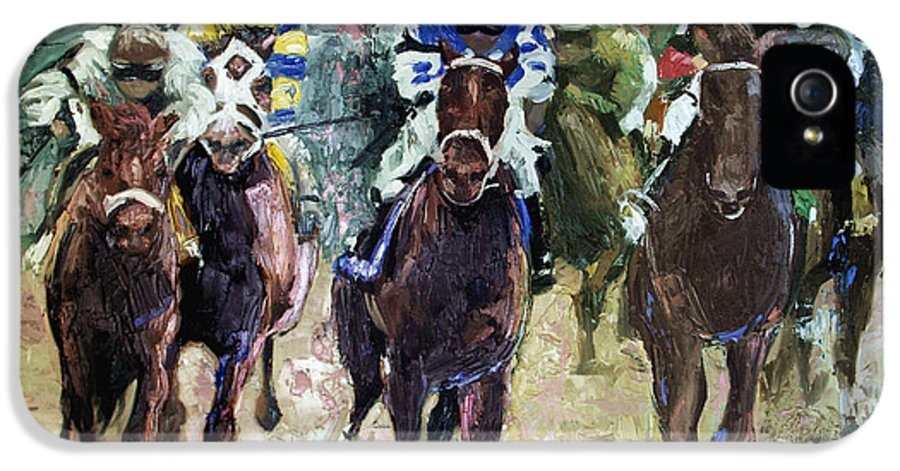 The Bets Are On IPhone 5 Case featuring the painting The Bets Are On by Anthony Falbo