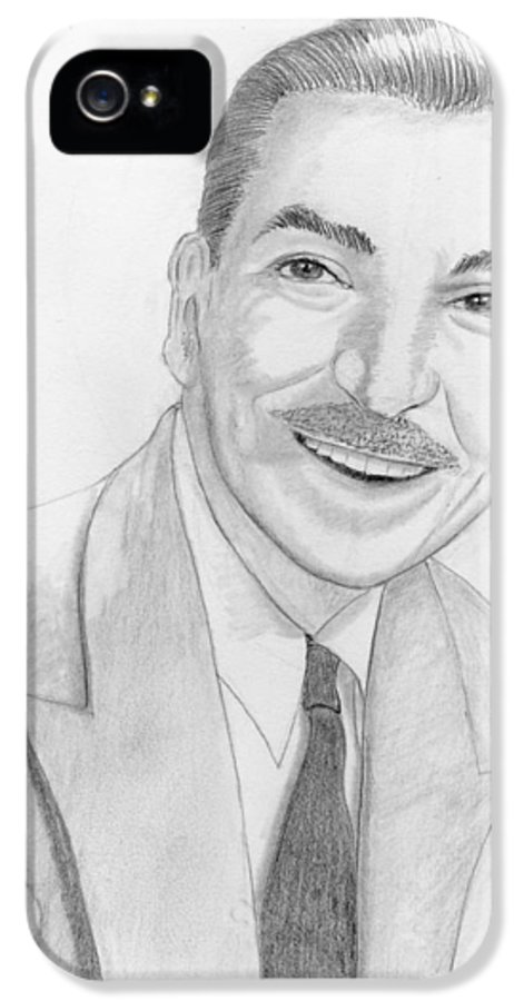 Walt Disney IPhone 5 Case featuring the drawing Walt Disney by M Valeriano
