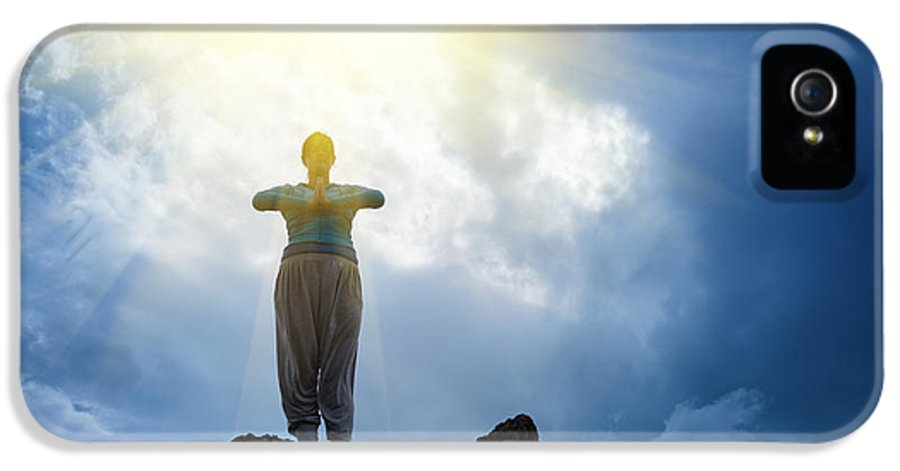 Yoga IPhone 5 Case featuring the photograph Yoga On Mountain by Konstantin Sutyagin