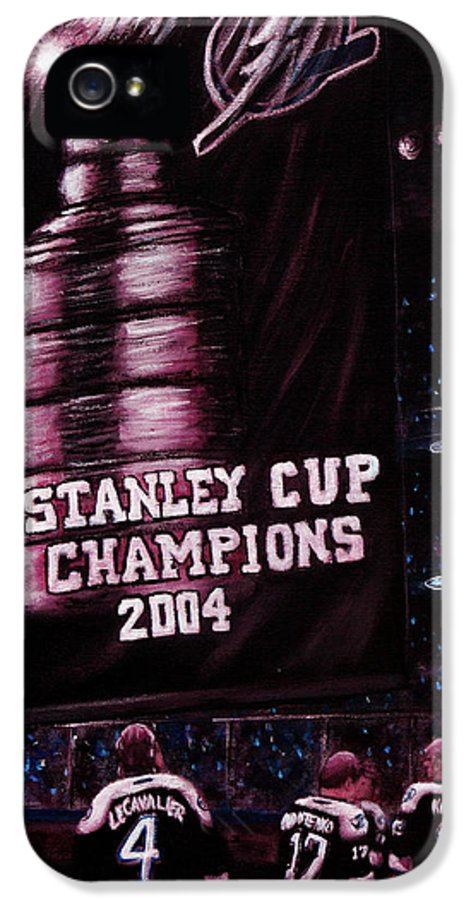 Tampa Bay Lightning IPhone 5 Case featuring the painting 2004 Champs by Marlon Huynh