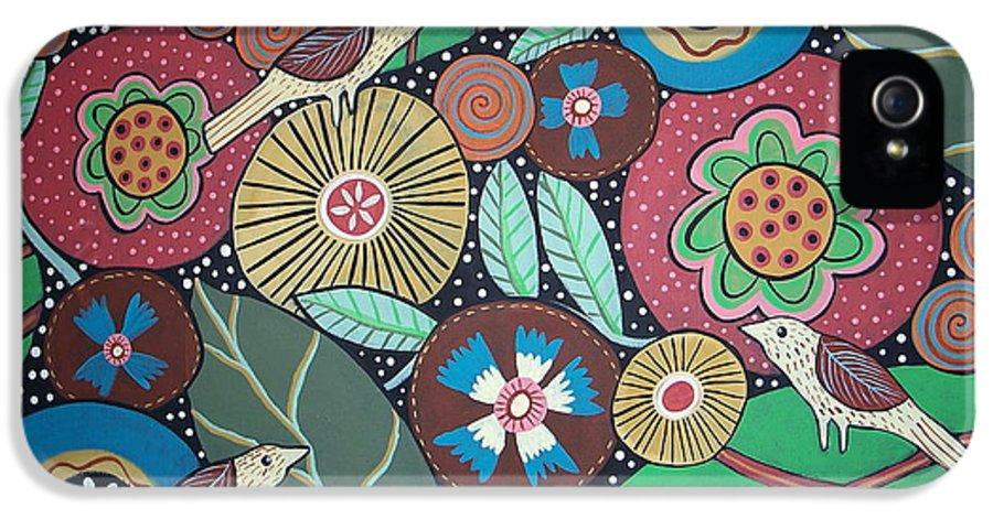 Botanical IPhone 5 Case featuring the painting 3 Bird Botanical by Karla Gerard