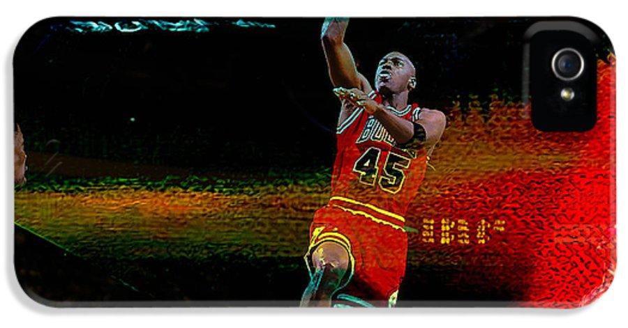 Michael Jordan IPhone 5 Case featuring the mixed media Michael Jordon by Marvin Blaine