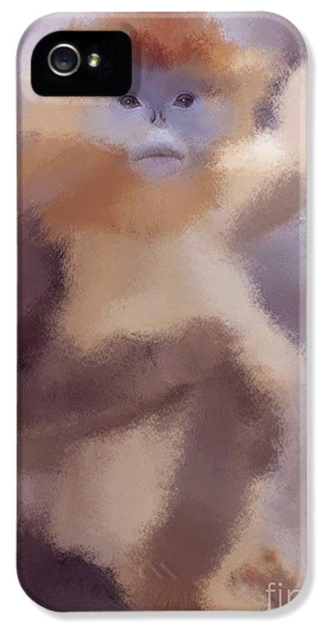 Monkey IPhone 5 Case featuring the drawing Monkey Business by Karen Larter