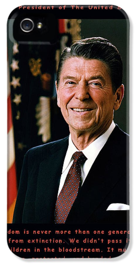 Official White House Photograph IPhone 5 Case featuring the digital art President Ronald Reagan by Official White House Photograph