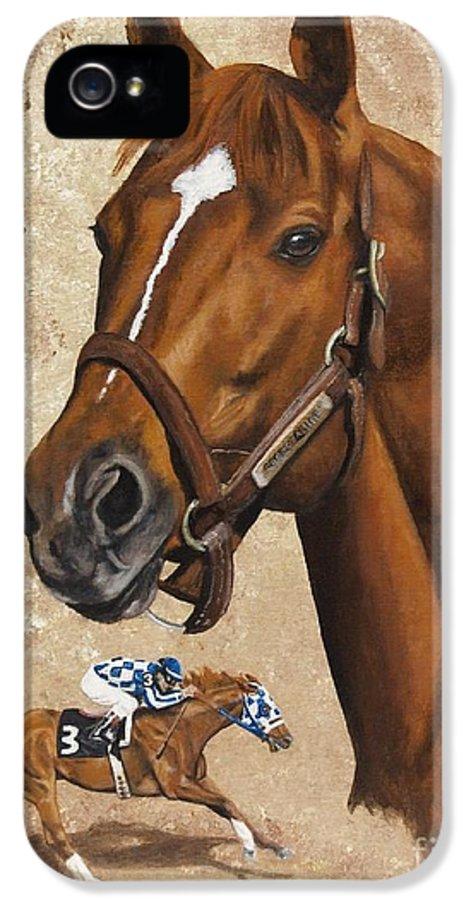Secretariat IPhone 5 Case featuring the painting Secretariat by Pat DeLong
